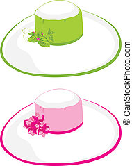 Two female beach hats Vector illustration