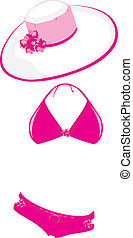 Pink swimming suit and beach hat. Vector illustration