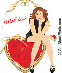 Woman sitting on the heart. Card