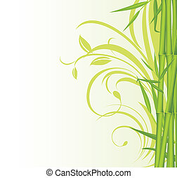 Green bamboo with floral background - Green bamboo on the...