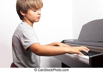 joven, niño, juego, piano
