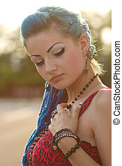 Pretty punk girl with blue hair - Attractive young lady with...