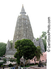 Mahabodi Temple, Bodhgaya - Huge, tall tower of Mahabodi...
