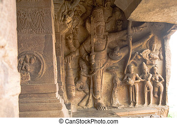 Lord Vishnus Vamanavatara - Sculpture depicting...