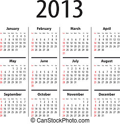 Solid calendar for 2013 - Calendar for 2013. Sundays first
