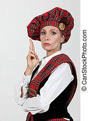 mujer, escocés, disfraz