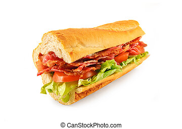 BLT Sandwich Baguette - A BLT Sub roll made with Bacon,...
