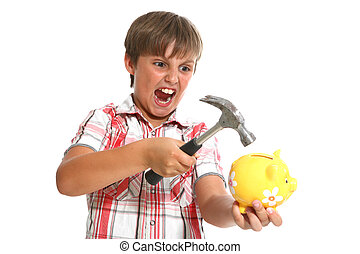 boy with a hammer breaking a piggybank against white...