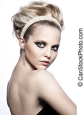 Fashion portrait of sexy woman with an original hairdress...