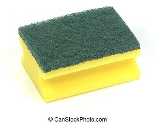 Sponge #2 - Yellow and green sponge on white background