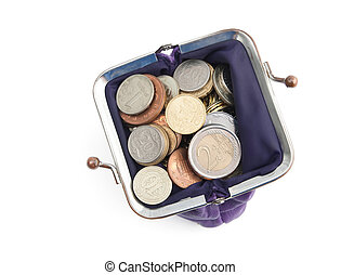 Violet purse is full of silver, bronze and gold coins,...