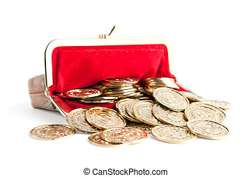 Scattered silver and gold coins are in open hot red purse,...