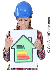 Woman with helmet showing a sign for energy consumption
