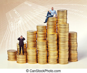 money business - people on golden euro coin piles