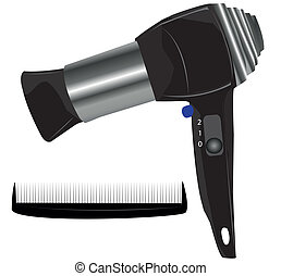 Vector illustration of hair dryer on white background