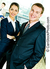 Smiling professionals - Portrait of confident business lady...