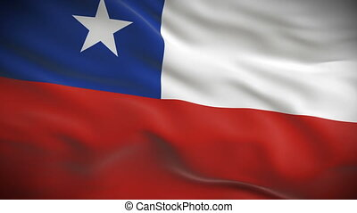Highly detailed Chilean flag ripples in the wind. Looped 3d...