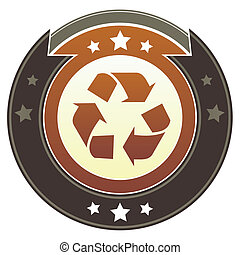 Recycle imperial crest - Recycle symbol icon on round red...