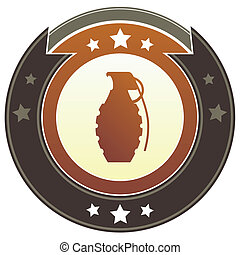 Hand grenade imperial button - Hand grenade icon on round...