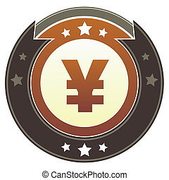 Japanese Yen imperial crest - Japanese Yen currency icon on...