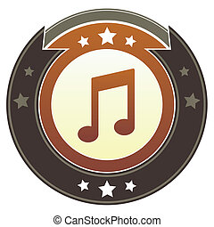 Music notes imperial crest - Music notes icon on round red...