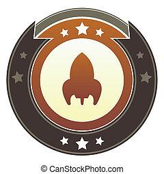 Retro rocket imperial crest - Retro rocket ship icon on...