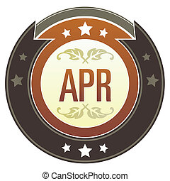 April imperial button - April month calendar icon on round...