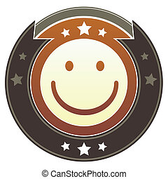 Happy face imperial button - Smiley face emoticon on round...
