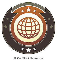 Abstract globe imperial button - Globe or international icon...