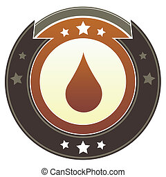 Liquid drop imperial button - Oil or water drop icon on...