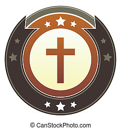 Christian cross imperial button - Christian cross icon on...