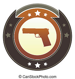 Handgun imperial button - Gun, crime, or violence icon on...