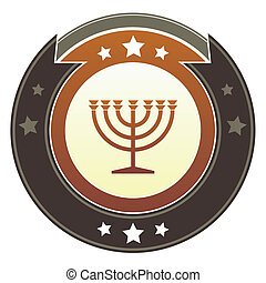Menorah imperial button - Jewish menorah icon on round red...