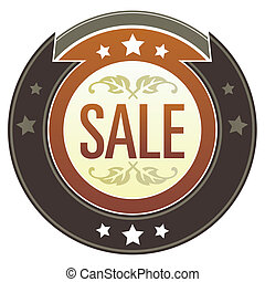 Sale imperial button - Sale e-commerce icon on round red and...