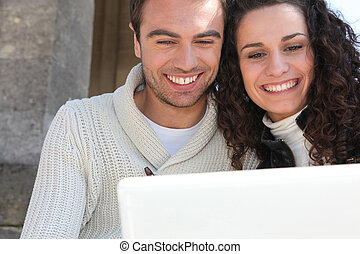 Couple having a video conference