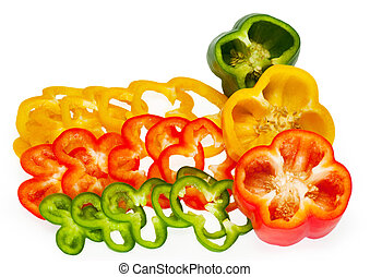 Slices of sweet pepper isolated on white background