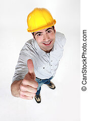Construction worker giving thumbs-up
