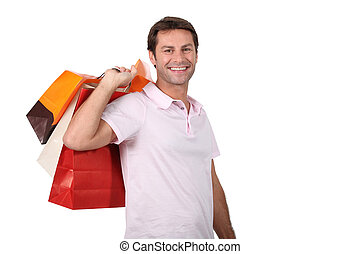 Man carrying shopping bags
