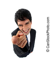 Businessman pointing his index finger