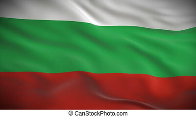 Highly detailed Bulgarian flag ripples in the wind. Looped...