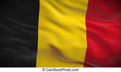 Highly detailed Belgian flag ripples in the wind Looped 3d...