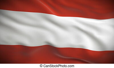 Highly detailed Austrian flag ripples in the wind. Looped 3d...