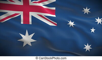 Highly detailed Australian flag ripples in the wind Looped...