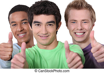 Three men giving thumbs-up sign
