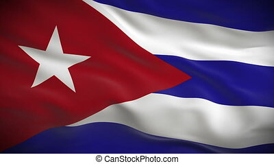 Highly detailed Cuban flag ripples in the wind. Looped 3d...
