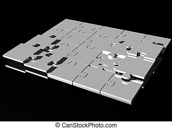 Jigsaw puzzle - 3d rendering of a chrome jigsaw puzzle