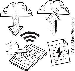 Cloud computing sketch - Doodle style cloud computing...