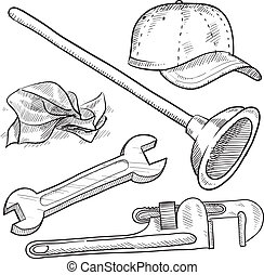 Plumbing objects sketch - Doodle style plumber or mechanic...