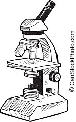 Microscope sketch - Doodle style scientists microscope in...
