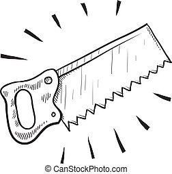Wood saw sketch - Doodle style carpenter's saw illustration...